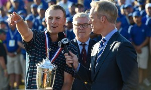 Jun 21, 2015; University Place, WA, USA; Jordan Spieth (left) is interviewed by FOX Sports announcer Joe Buck (right) after winning the 2015 U.S. Open golf tournament at Chambers Bay. Mandatory Credit: Michael Madrid-USA TODAY Sports