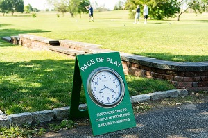 Clocks are placed in stratigic locations to remind players about Pace of Play at Marine Park Golf Course, Monday, June 2, 2014 in Brooklyn, NY. (Copyright USGA/Matt Rainey)